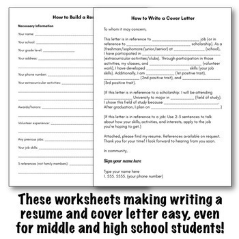 How To Write A Resume Cover Letter Classroom Lesson Worksheet Packet