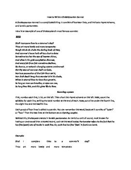 How to Write a Shakesperean Sonett