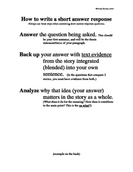How to Write a Short Answer Response for STAAR
