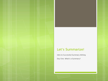 How to Write a Summary Power Point