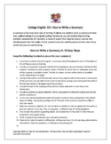 How to Write a Summary with Review Checklist and Quiz