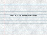 How to Write an Article Critique - Ppt