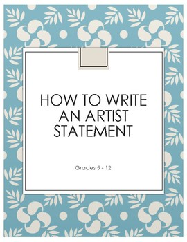 How to Write an Artist Statement  (Flow Chart)
