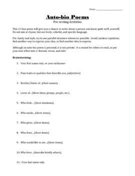 How to Write an Auto-bio Poem (lesson bundle)