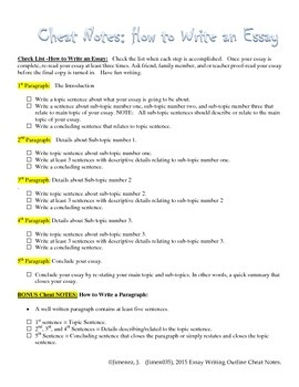 How to Write an Essay Cheat Notes Checklist