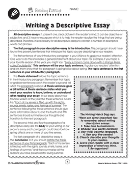 How to Write an Essay: Writing a Descriptive Essay Gr. 5-8