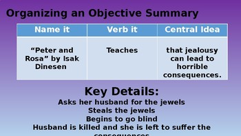 How to Write an Objective Summary - PPT and Stations