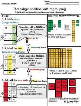 How to add two three-digit numbers with regrouping step by step lesson