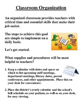 Easy Steps for Classroom Organization Powerpoint