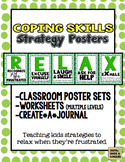 How to RELAX!  Poster Sets, Worksheets, Journals, & Coping Strategies