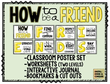How to be a FRIEND! (Canary Yellow Edition) Poster Set, Worksheets, & Journal