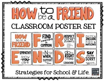 How to be a FRIEND!  Poster Set with Strategies  (Orange Tint)
