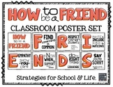 How to be a FRIEND!  Poster Set with Strategies  (Red Tint)