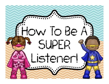 How to be a SUPER Listener! 7 Page Bulletin Board of Tips! SUPERHERO Theme!