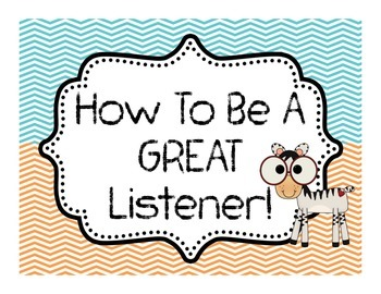 How to be a GREAT Listener! 7 Page Bulletin Board of Tips! Chevron & Zoo Theme
