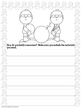 How to build a snowman or catch a snowflake writing prompt printable and craft