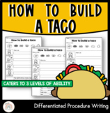 How to build a taco | Differentiated Procedure Writing Worksheets