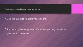 How to build a topic sentence