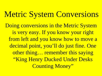 How to do Metric Conversions PowerPoint