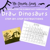 How to draw Dinosaurs- Step-by-Step Elementary Art Drawing