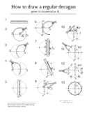 How to draw a regular decagon step by step