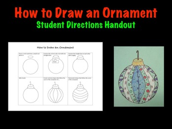 How to draw an ornament student Christmas Holiday art project printable handout