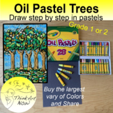 Art Lesson - How to draw and color Pastel Trees - Think Art Now