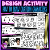 How to draw cartoon character heads and faces, step by ste