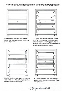 How to draw shelves in one point perspective.
