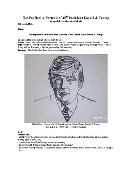 How to draw the NeoPopRealist portrait of President Donald Trump