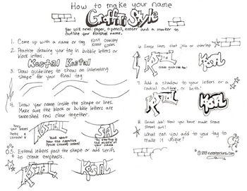 How to draw your name Graffiti Style Handout