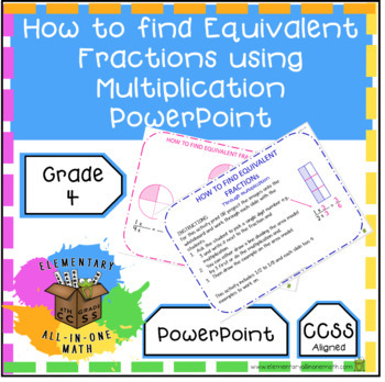 How to find Equivalent Fractions using Multiplication PowerPoint (4.N.F.1)