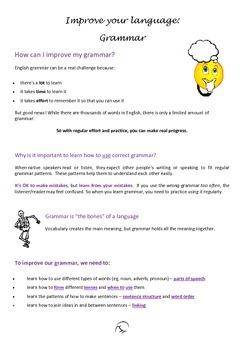 How to improve your grammar, plus grammar log - Bundle