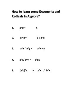 How to learn some Exponents and Radicals in Algebra