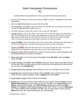 How to make a Basic PowerPoint Presentation Worksheet (PC)