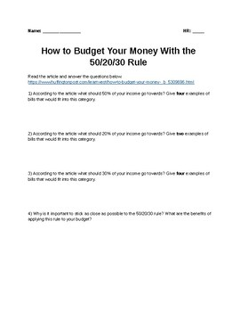 How to make a budget using the 50/20/30 Rule