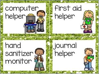 Classroom Jobs - 44 Illustrated Job Cards - Plus Editables - Glitter Border Set