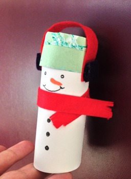 How to make a holiday craft snowman ornaments from recylced toilet paper roll.
