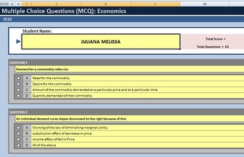 Multiple choice test template using Excel (10 Questions)