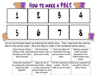 How to make a peanut butter and jelly sequence activity