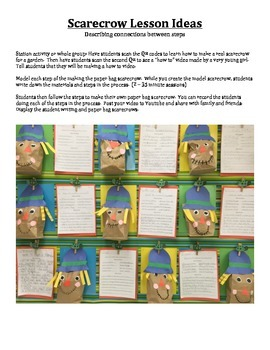 How to make a scarecrow - QR Codes, Writing Activity, & scarecrow patterns