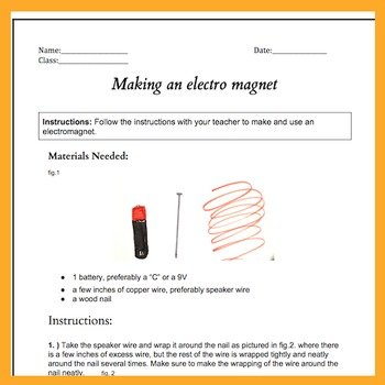 How to make an electromagnet blueprints and magnetism lesson