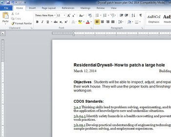 How to patch Drywall Lessonplan