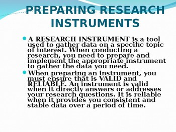 How to prepair Research Instrument