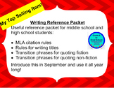 Quote using MLA citations- reference sheet w/ transitions, title rules, analysis