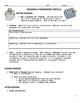 How to read a Newspaper Article - Reading Strategies for NF