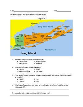 How to read a map worksheet