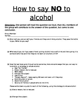 How to say NO to Alcohol - Refusal Skills, Peer Pressure,