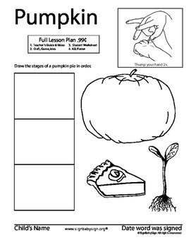 How to sign PUMPKIN, ASL. Seed planting, grow garden/food & Free ASL Coloring Bk