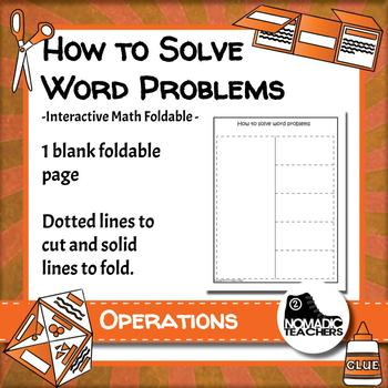 How to solve word problems interactive notebook math foldable